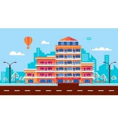 City street with hotel apartments apartment vector