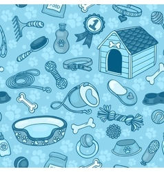 Seamless pattern with accessories for dogs blue vector image