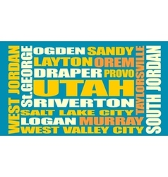 Utah state cities list vector