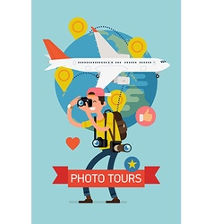 Photo tour poster vector