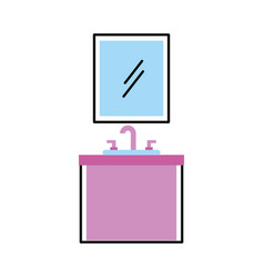 Bathroom interior with sink mirror vanity vector