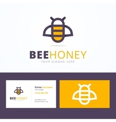 Bee honey logo and business card template vector
