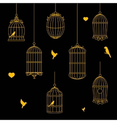 birds and birdcages collection vector image
