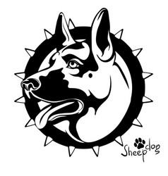 black and white image of a dog s head to guard a vector image vector image