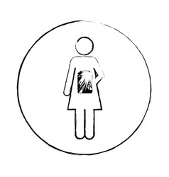 blurred circular frame silhouette pictogram female vector image vector image