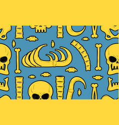 Bones seamless pattern skeleton background skull vector
