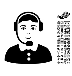 Call center operator flat icon with bonus vector