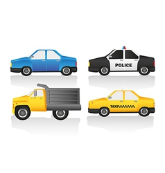 Car kit includes truck normal car taxi and police vector image