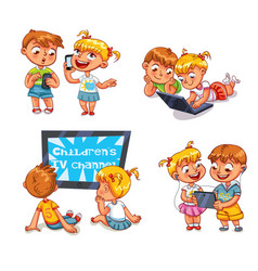 children and technical progress vector image