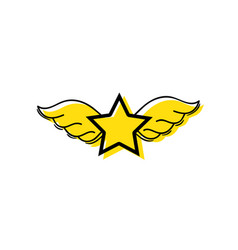 Color star with wings rock symbol art vector