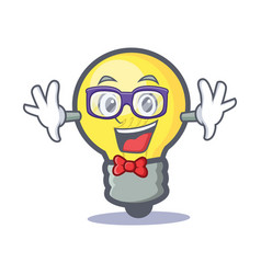 Geek light bulb character cartoon vector