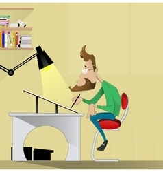 Graphic designer artist sitting at a table vector image vector image