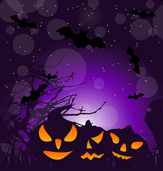 Halloween scary pumpkins outdoor background vector image