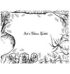 Hand drawn frame of root and tuberous vegetables vector