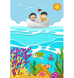 kids rowing on paper boat vector image