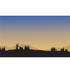 Landscape village of silhouette vector