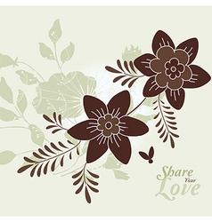 Love flowers elegant card vector