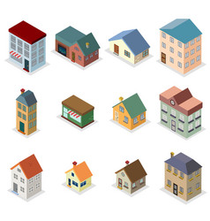modern trendy retro house street isometric design vector image vector image