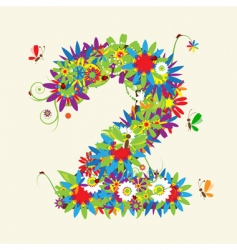 numbers floral design vector image vector image