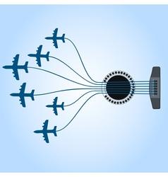 Plane a guitar vector image vector image