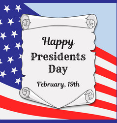 presidents day in the us greeting card or banner vector image