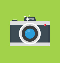 Retro camera with flash flat colorful vector