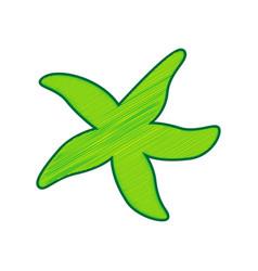 sea star sign  lemon scribble icon on vector image