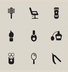 Set of 9 editable hairdresser icons includes vector