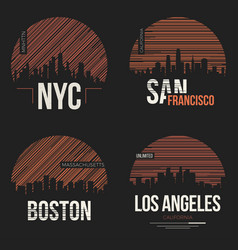 Set of t-shirt designs with us cities silhouettes vector