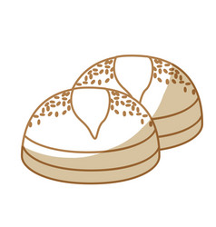 Silhouette delicious fresh bakery breads food vector