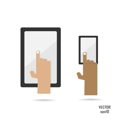 Smartphone and tablate with hand vector
