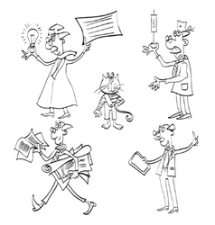 some hand drawn cartoon people vector image vector image