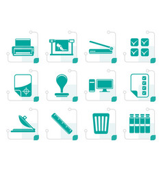 stylized print industry icons vector image