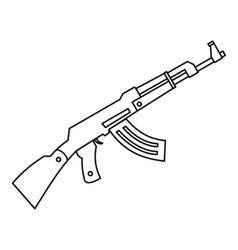 Submachine gun icon outline style vector
