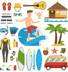 Surfing time elements set vector