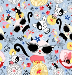 Texture of funny kittens vector image vector image