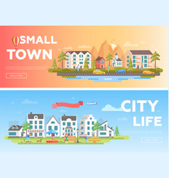 Town and city - set of modern flat vector