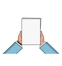 Two hands holding white blank sheet Flat style vector image vector image