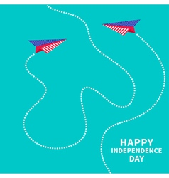 Two paper planes dash line independence day vector