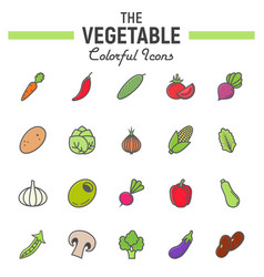 Vegetable colorful line icon set food signs vector