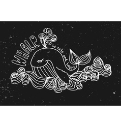 whale cute cartoon on black vector image