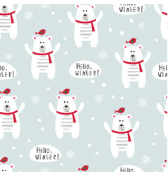 Winter seamless pattern with polar bears and birds vector