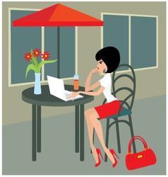 Young woman with the laptop in cafe vector