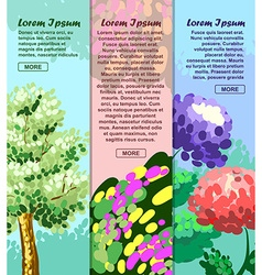 Colored banners with tree flower and abstraction vector image