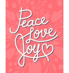 Peace love joy christmas lettering quote vector
