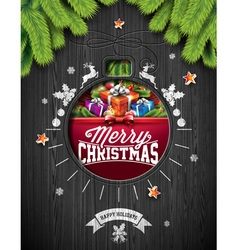 Christmas design on wood background vector image