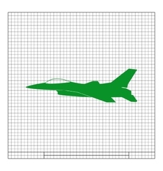 Jet fighter icon airplane silhouette vector