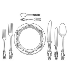 Engraving cutlery and dinner plates vector