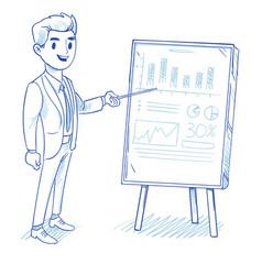 happy businessman explains product sales chart vector image