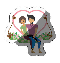 Couple love together in swing shadow vector